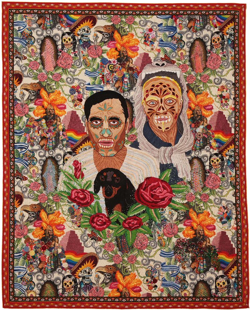 Chiachio&Giannone, Calaverita, 2014, hand embroidery with cotton thread and wool on Alexander Henry ©fabric, 140 x 110 cm. Photo: Chiachio&Giannone