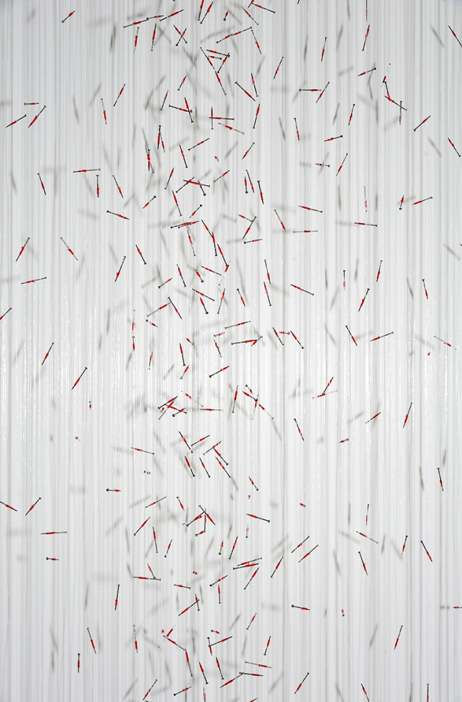 """Tereza Barabash / Ukraine:""""Rain in Ukraine"""",detail, 230 x180 x 28 cm, 2015, installation, own technique, gut, nails, thread; Gold medal and Prize for Newcomer by the AKAPI foundation; photo Central Museum of Textiles"""