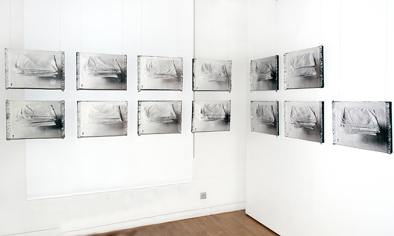 """Laima Ore-Oržekauskienė / LT :""""Dedicated to Father, Vilnius Hospital, Slippage (lapse, mistake) No. 1"""", 13 x (33 x 51 cm), 2012 – 2013, own technique, synthetic thread; Silber medal; photo Central Museum of Textiles"""