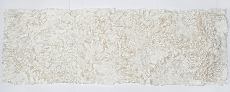 """Joanna Rusin / PL : """"Composition on Canvas"""", 108 x 300 x 7 cm, 2015, cutting, interlacing, wool, felt; Bronze medal; photo Central Museum of Textiles"""