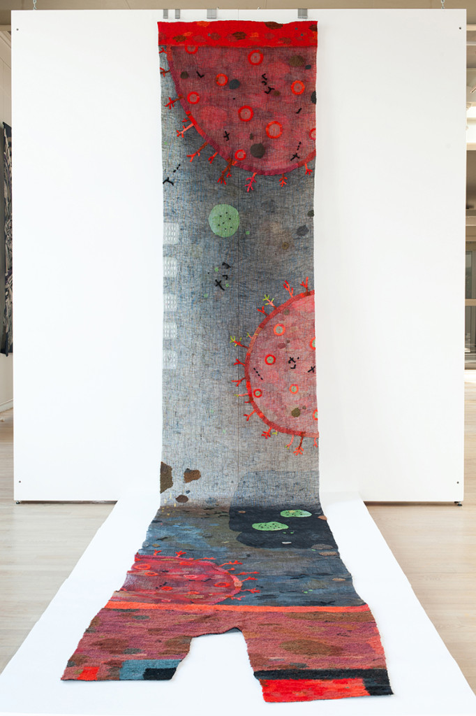 """Toko Hayashi / Japan: """"Multiply"""", 540 x 90cm, 2015, carpet, paper, mosquito net, kimono, fishing line, tulle; Honorable mention; photo Central Museum of textiles"""