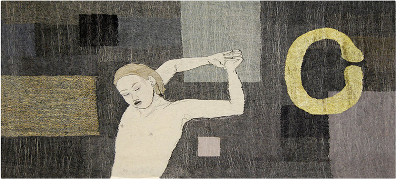 "Aino KajaniemiFIN: ""Taivun I bend"", 2013, 71 x 156 cm, tapestry at the 4th European Tapestry Triennial"