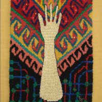 "Barbara Heller: ""Binary Codes: Shawl"", shown at the first Small Tapestry International ""Connections"""