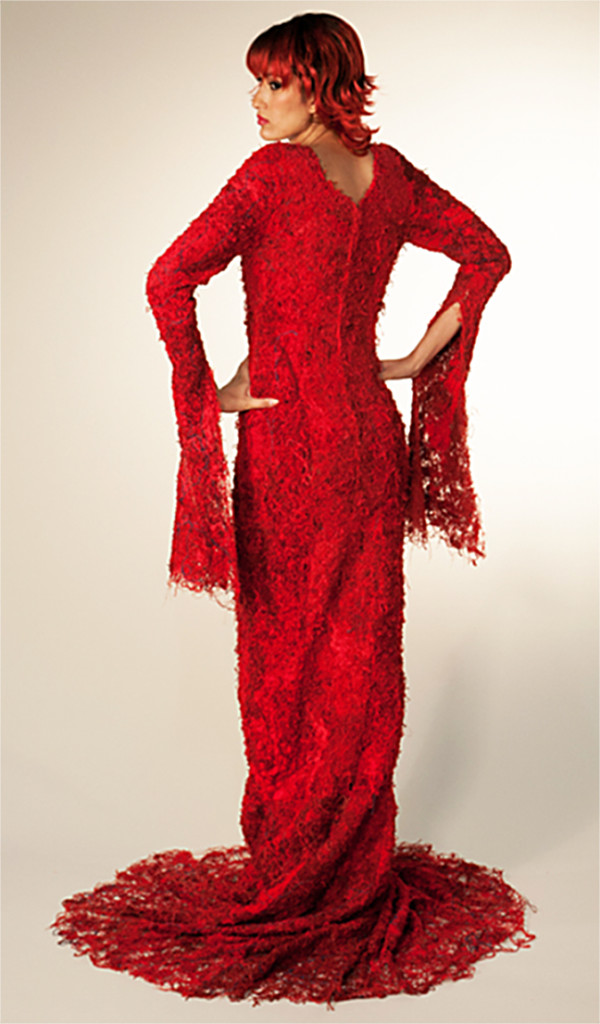 "Susan Taber Avila, USA: ""Arterial Motive""Recycled belt loop string, dyed red, machine stitching"