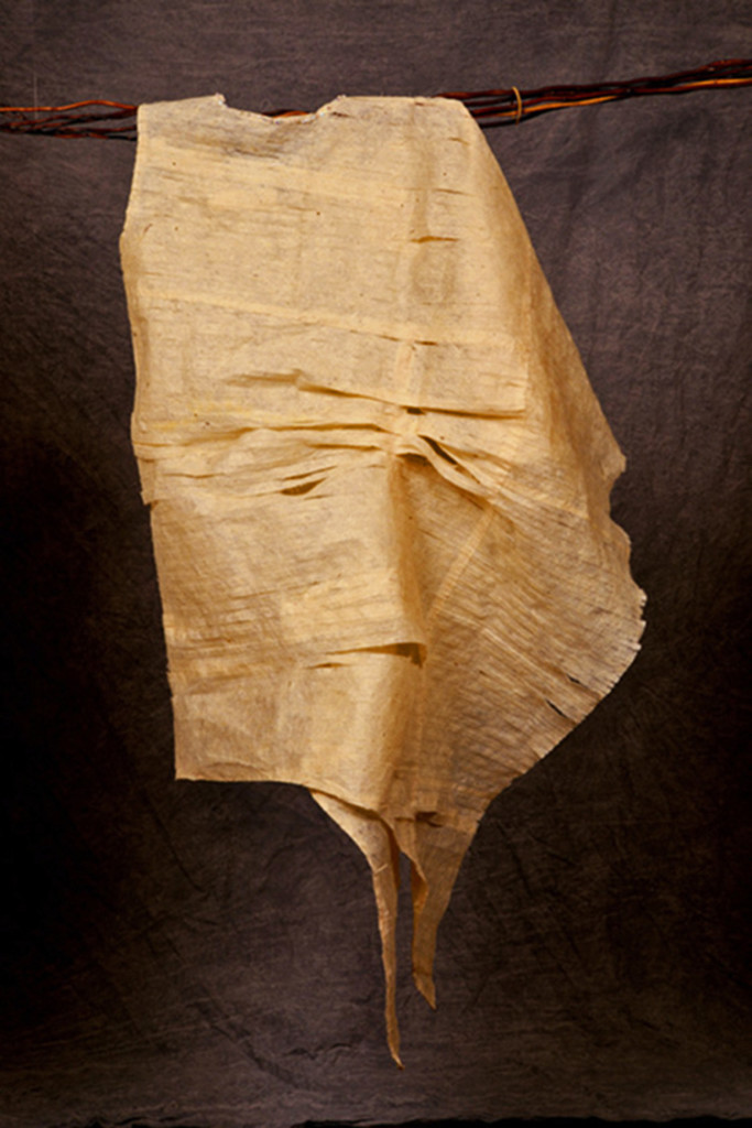 "Ja Young Hwang, USA: ""Cocoon""; Koean traditional paper hang, beads; 74 x 83 x20 cm"