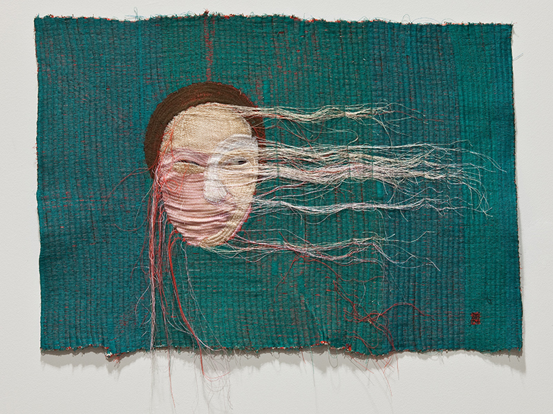 Youn Ji Seon/KOR: Rag face no.10, 67x47cm, 2012; sewing on fabric and photography
