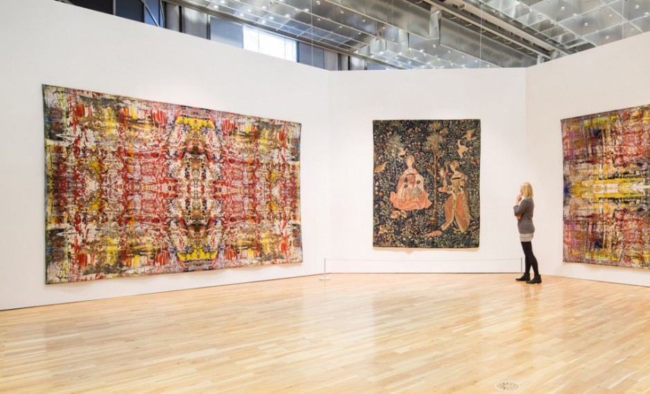 Richters interpretation of a painting , executed by an industrial Jacquard mill, was hanging next to the  Tapestry