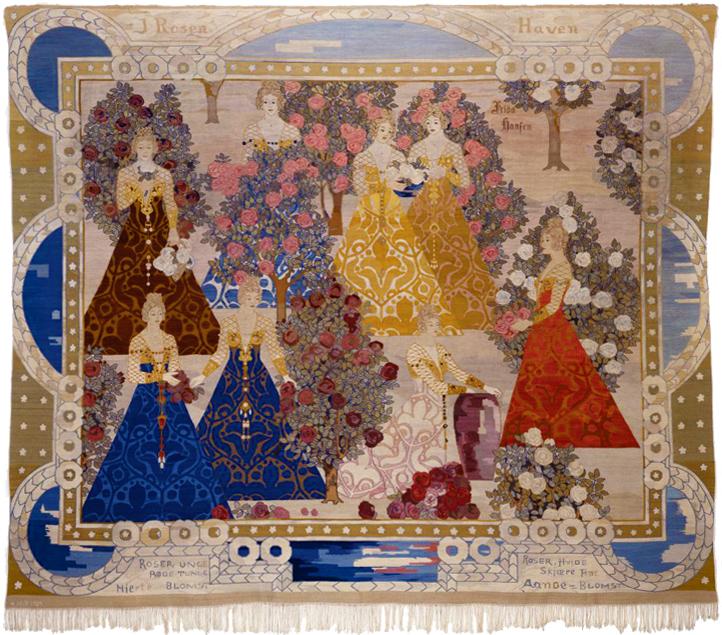 Frida Hansen (1855 - 1903): I Rosenhaven, tapestry