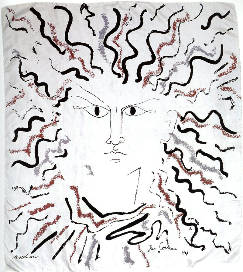 """Visage"" by Jean Cocteau for Ascher Ltd., screen-printed on silk twill"