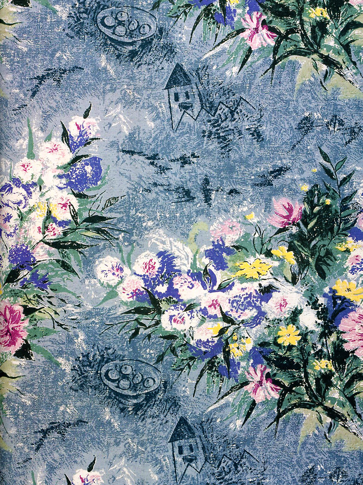 """Belle Fleurs"" furnishing fabric designed by Chagall for Fuller Fabrics Inc., circa 1956"