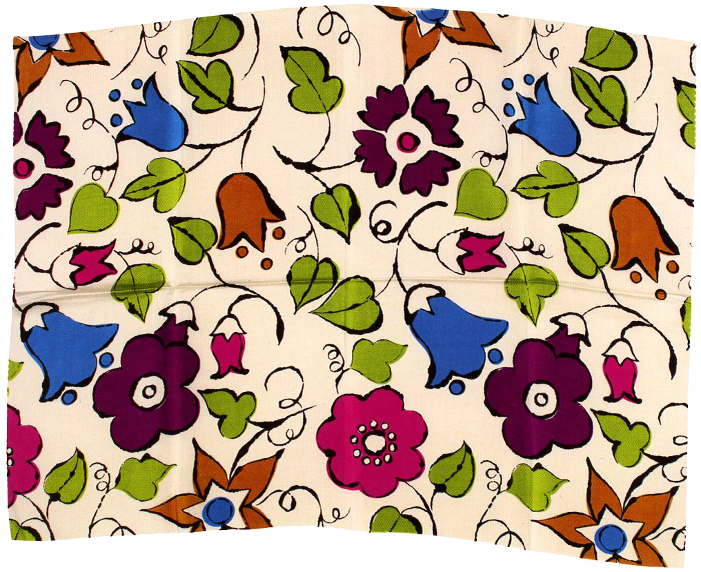 Sample of fashion textile designed by Warhol for Balmoral Looms Inc., circa 1957