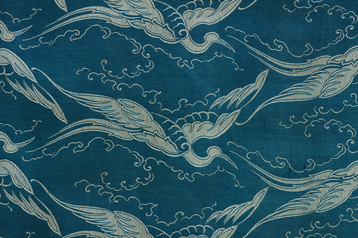 Woven silk fragment with flying crane, Siber & Wehrli, 1924