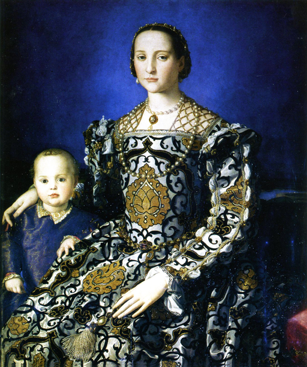 Eleonora di Toledo with her son painted by Agnolo di Cosimo 1503 - 1573