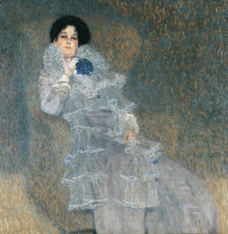 Gustav Klimt, Bildnis Marie Henneberg, 1901/02, Öl auf Leinwand 140 x 140 cm, Stiftung Moritzburg Halle (Saale) – Kunstmuseum des Landes Sachsen-Anhalt
