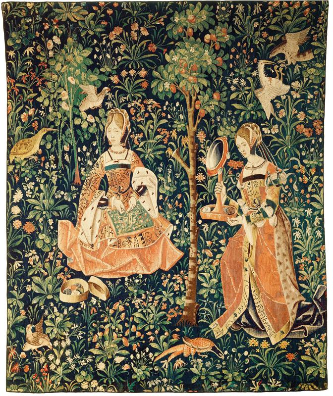 La broderie, tapisserie faisant partie de la vie seigneuriale, um 1520, Wandteppich, links: 265 cm, rechts 264 cm, Länge oben 224 cm, Länge unten 220 cm, Musée de Cluny, Paris