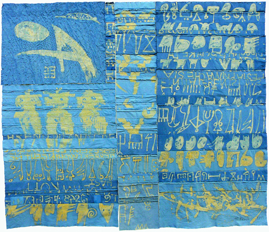 "Urdula Rauch/D: ""The End is my Beginning"", 2011, 216 x 185 cm, cotton, resist-dyeing"
