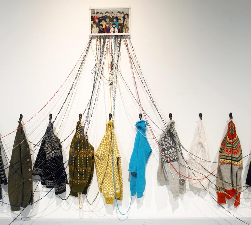 Kari Steihaug, Fourth Grade, 2012, installation of hand knitted vintage sweaters, 500 x 170 cm. Photo: Kari Steihaug