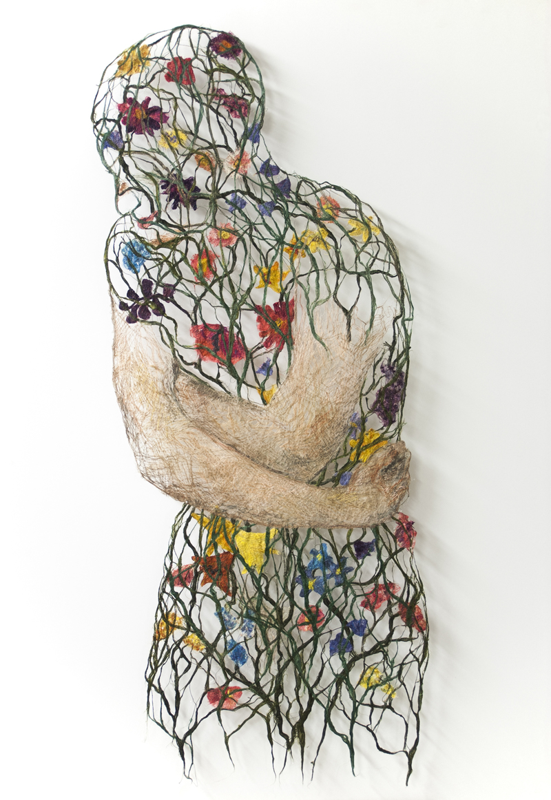 Raija Jokinen, Internal Garden, 2014, various techniques of drawing and painting with flax fibres and machine stitching, 95 x 38 cm. Photo: Raija Jokinen