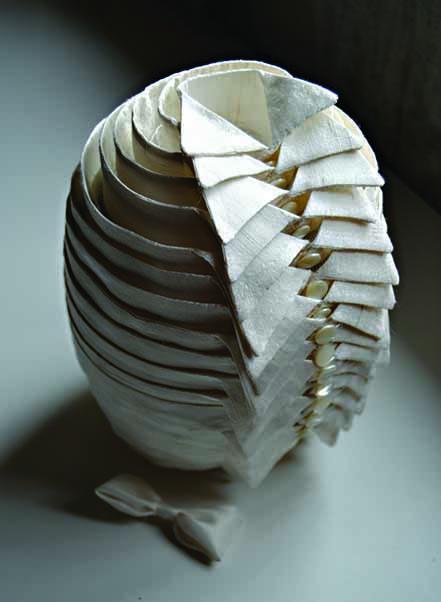 4. TAMMI, Minnamarina Finland A MAN – GENTLEMAN, 2014, 20x20x18 cm; silk, buttons; from the 5th International Triennial of Miniature Textile