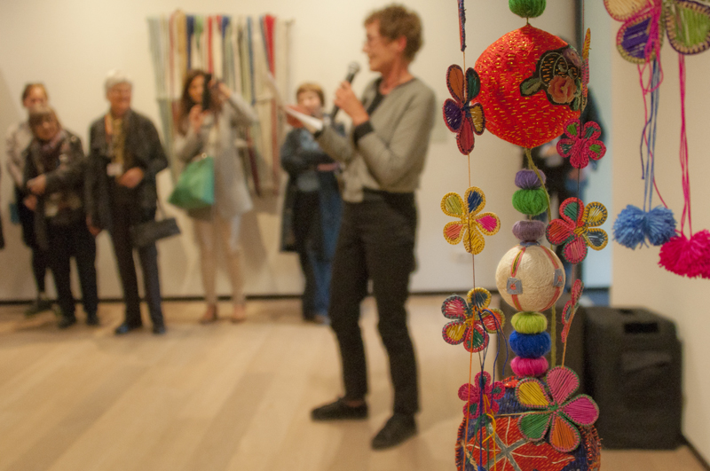 Rijswijk Biennial curator Anne Kloosterboer explaining the exhibition to her guests on 15 May 2015
