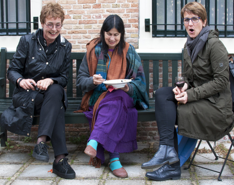 Curator Anne Kloosterboer (left) at the garden party in the garden of her Museum ; with Yosi Anya, Mexico and Beatrix Schaaf-Giesser, Germany (right)