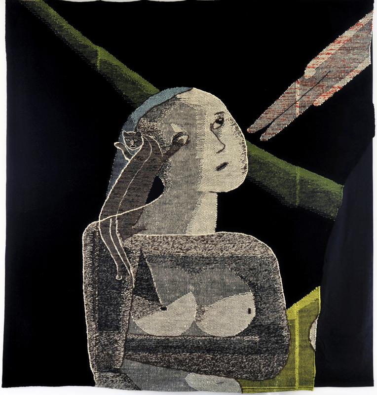 """Johanna Schütz-Wolff; Bildteppich """"Der Tote"""" (Fragment); Schwabendorf bei Marburg, 1930; Wolle, Leinen- und Köperbindung, gestickte Konturen; Höhe: 220 cm, Breite 210 cm; ©Nachlass Johanna Schütz-Wolff"""