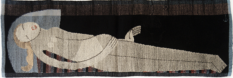 Johanna Schütz-Wolff: Liegende,(recumbant woman) 1924, Wolle; Leinen- und Köperbindung, gestickte Kontouren (wool; tabby and twill, embroidered contours )