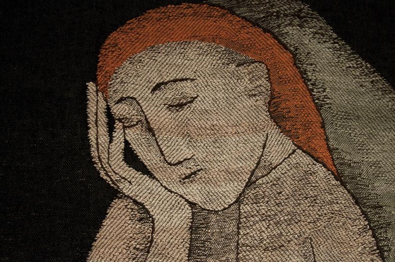 """Johanna Schütz-Wolff: """"Einsamkeit (Loneliness)"""", Detail, 1949, Zellwolle (viscose); Leinen-und Köperbindung, gestickte Kontouren (tabby and twill, embroidered contours); Nachlass Künstlerin (estate of the artist)"""