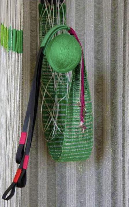 Elsi Giauque: Hommage à Meret Oppenheim, detail, 100x 100x 220 cm, synthetic fiber, silk, wool, siver thread, cotton, raffia, black hair, mirror; Fondation Toms Pauli