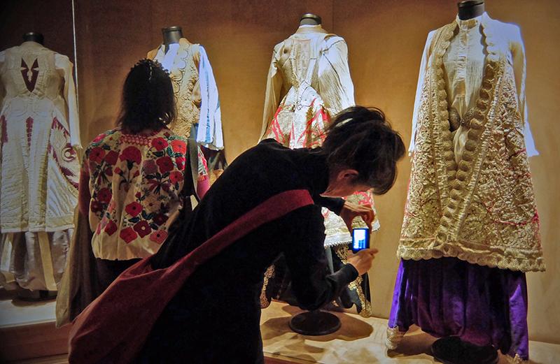 Yosi Anaya and Reiko Sudo admiring traditional costumes at the Sadberk Hanim Museum of Istanbul