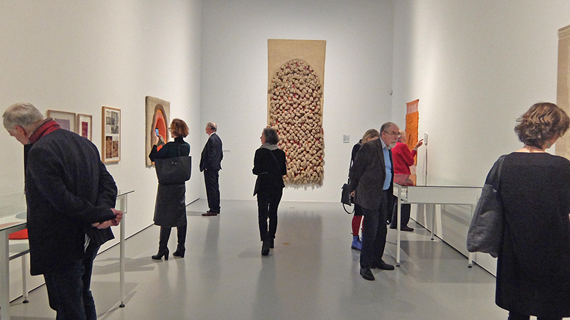View at the Sheila Hicks exhibition; this hall was showing older works