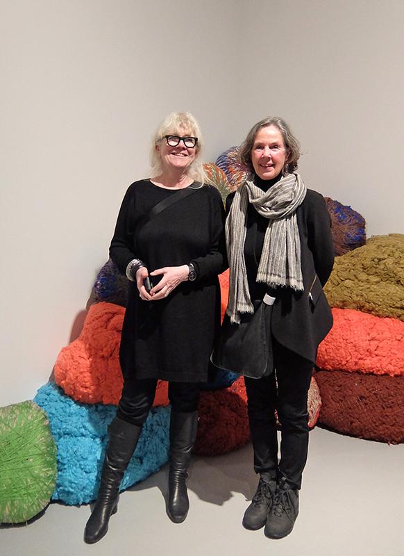 Norwegian visitors at the Sheila Hicks exhibition: Bente Saetrang (textile artist, left) and Kari Dyrdal (professor)