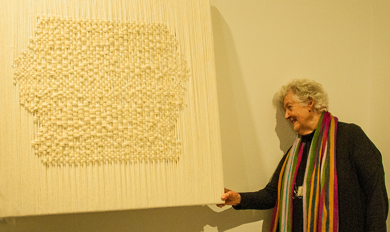 "Sheila Hicks with ""Conversation"", 2016"