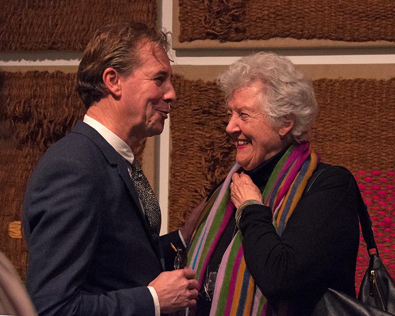 "Sheila Hicks with Dutch Textile Museum director Errol van de Werdt at the opening of ""Why Not"""