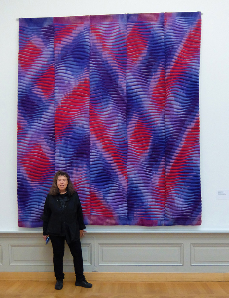 Lia Cook in front of her work in Lausanne; photo Beatrijs Sterk
