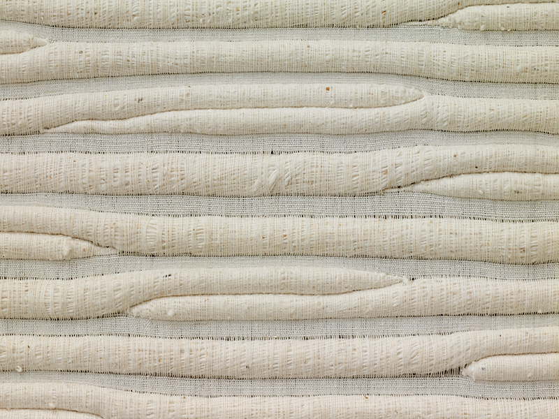Sheila Hicks (1934), USA: Linen Letter to Malevitch, 1975; 182 x 185cm, detail; cotton; collection Fondation Toms Pauli, Lausanne; photo Beatrijs Sterk