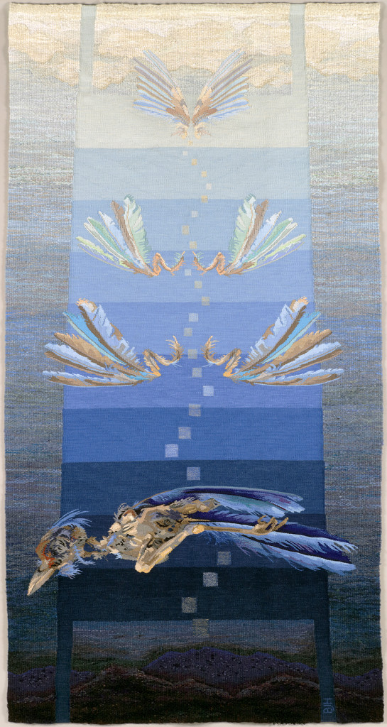 "Barbara Heller/CDN: ""Tzimtzum – the transcendence"", 224 x 123 cm, 2015, wall-hanging, linen, cotton, art silk, silk, mixed fibers; photo Barbara Heller"