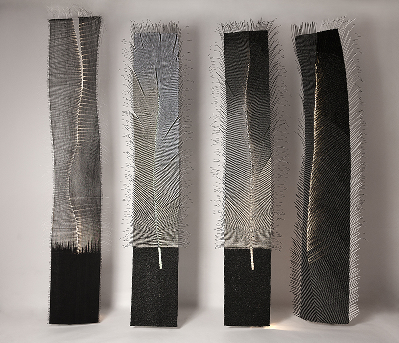 "Wlodzimierz Cygan/ Poland : ""Tapping"", series of woven works, 6 pieces, each 15 x 280 cm; fiber optic has been used in each one in a different way ; photo Wlodzimierz Cygan"