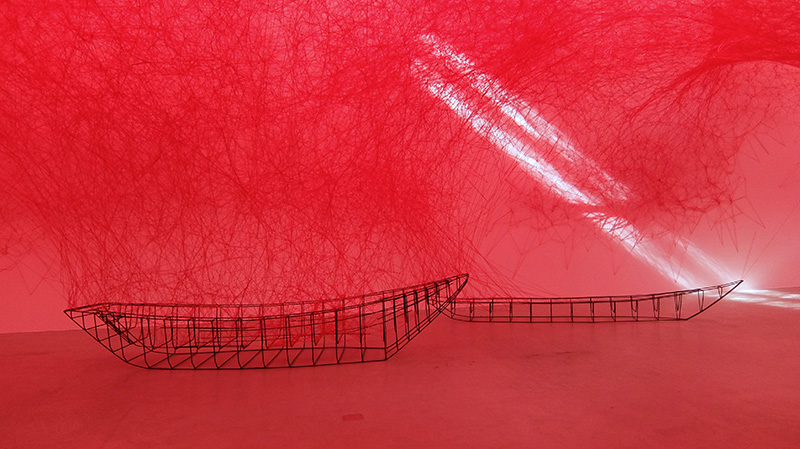 "Chiharu Shiota: ""Uncertain Journey"" Installation view at gallery Blain/Southern, Berlin; photo Beatrijs Sterk"