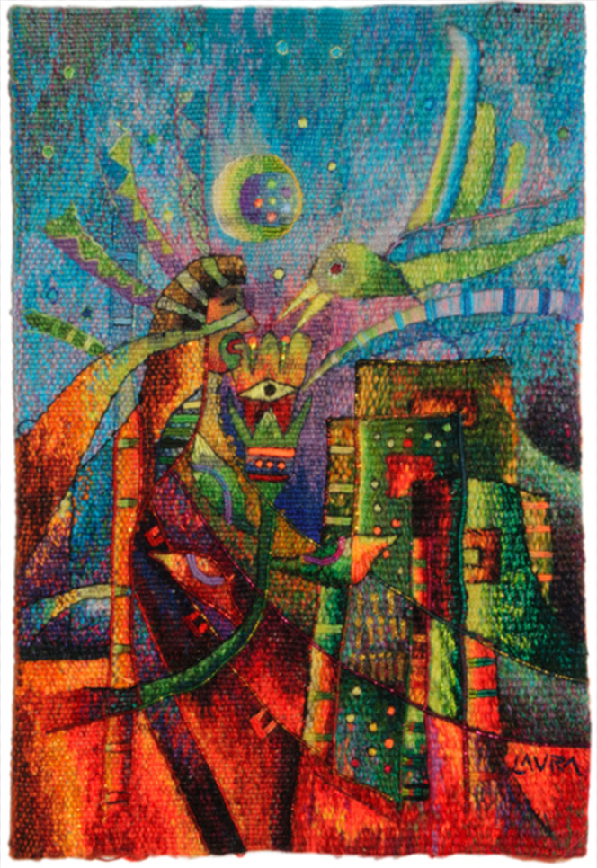 """Maximo Laura: """"Cuidando el Hogar"""", shown at the first Small Tapestry International """"Connections"""""""