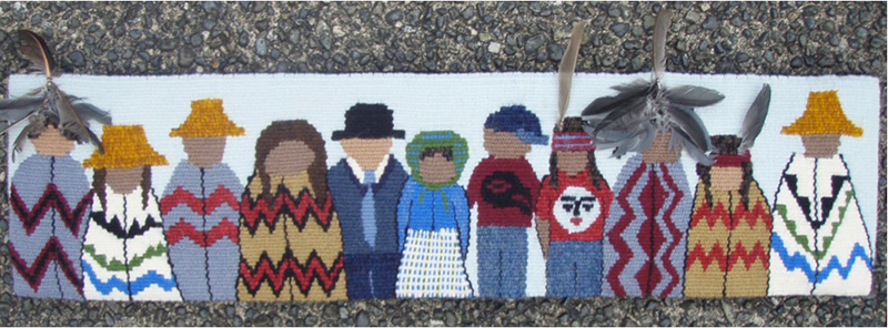 """Christine Rivers: """"Standing Together - Than and Now"""", shown at the 4th Small Tapestry International """"Honoring Tradition"""""""