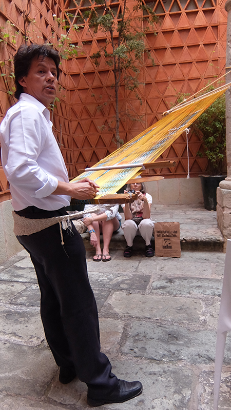 Weaving demonstration at the Textile Museum of Oaxaca: Jaspe Rebozo on a Backstrap Loom