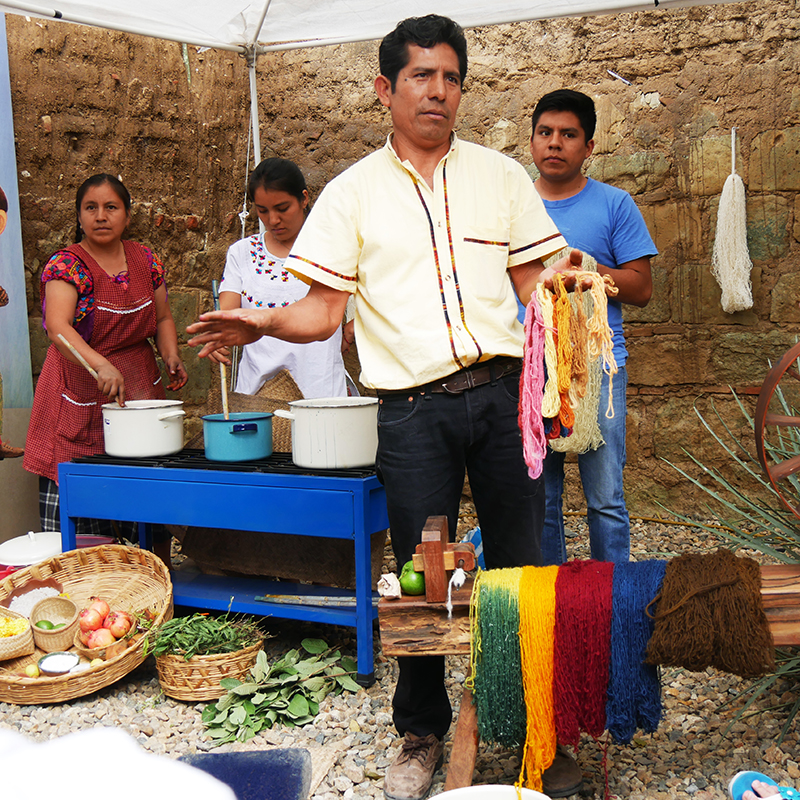 Weaver and dyer Jacobo Mendoza from Teotitlán del Valle who, with the help of his entire family, clearly demonstrated the complete production process of the finely woven carpets, beginning with spinning and dyeing using natural materials.