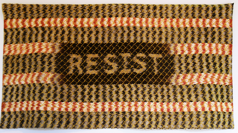 "Wendy Weiss: ""Resist"", 2016; work in the exhibition ""Contemporary Art of Shibori and Ikat"""