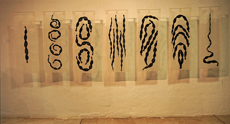 "Yosi Anaya, ""Snake Skins"", 2016; work in the exhibition ""Contemporary Art of Shibori and Ikat"""
