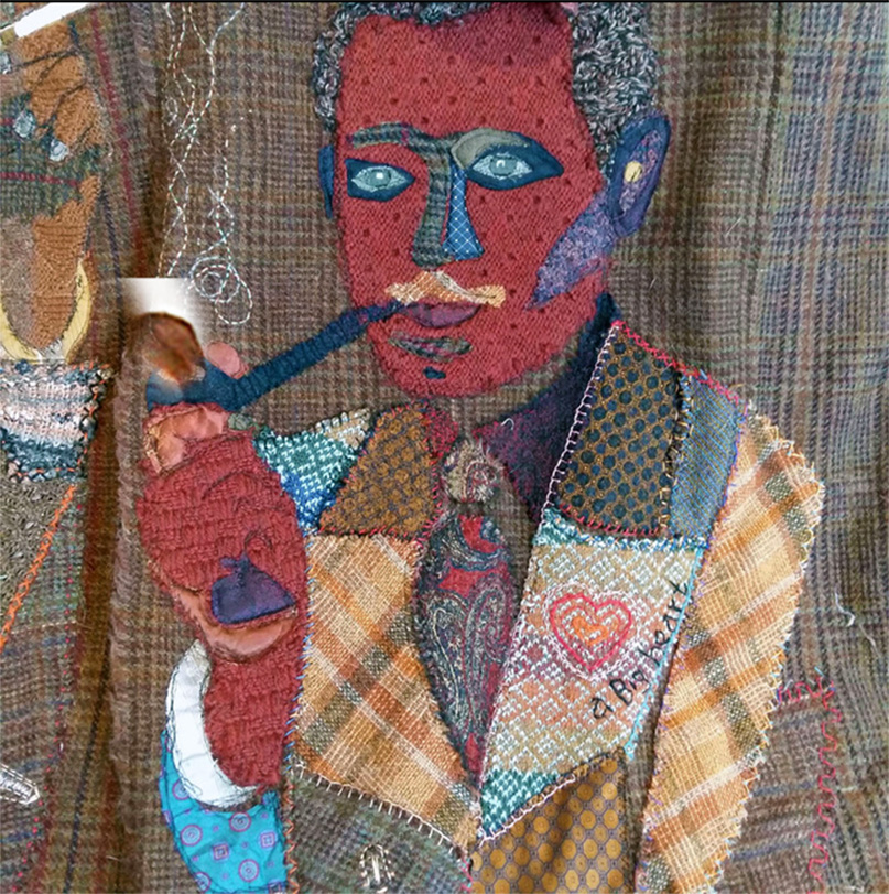 Sue bradleay, UK: My Father´s Coat, detail; recycled materials, ties , socks,knit and embroidery