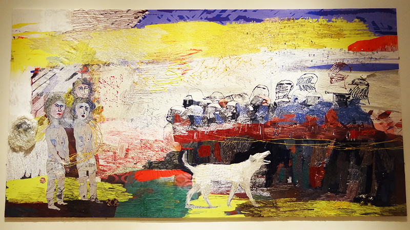 Alice Kettle /UK, The Dog Loukanikos...,520x217cm, 2015; thread and paint on canvas,Photo VAST Edinburgh